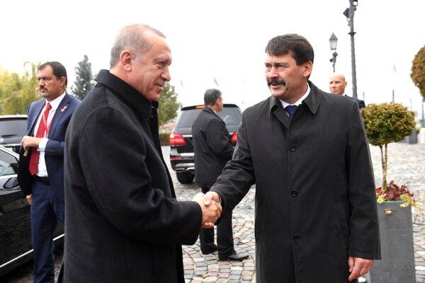 Turecký prezident Erdogan si podáva ruku s maďarským prezidentom Aderom. Budapešť, 7. novembra 2019.