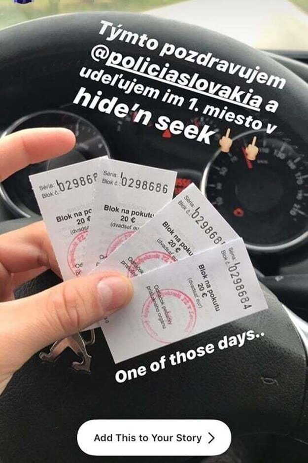 Fotka na Instagrame políciu motivovala k ďalšej pokute.