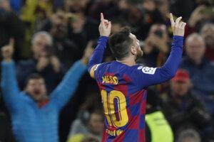 Lionel Messi po treťom góle v zápase 13. kola La Ligy 2019/2020 FC Barcelona - Celta Vigo.