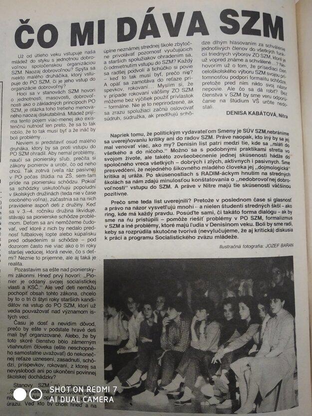 Text vyšiel v Smene 8. septembra 1989.