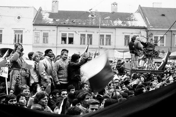 Kamery na demonštráciách v centre Košíc.