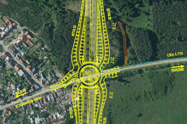 Návrh diaľničnej križovatky.