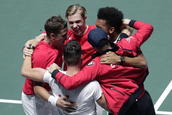 Tím Kanady po postupe do finále Davisovho pohára 2019.