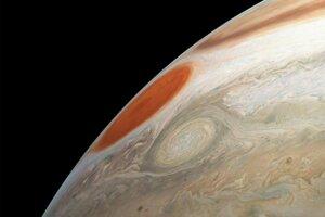 Veľká červená škvrna na Jupiteri.