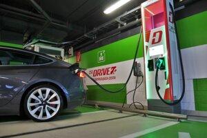 Nový stojan pre ultra rýchle nabíjanie s výkonom 350 kW v bratislavskom Auparku.