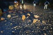 13. novembra 2019 sa na cestu v Tiesňavach zosunul kus skaly.