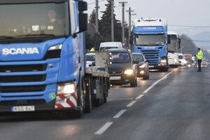 Štrajk autodopravcov v Košiciach.