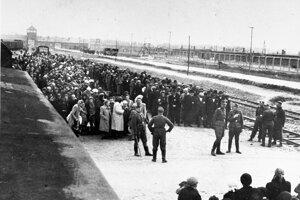 Deportovaní čakajú na selekciu do plynu, v pozadí brána vyhladzovacieho lágra Auschwitz-Birkenau.
