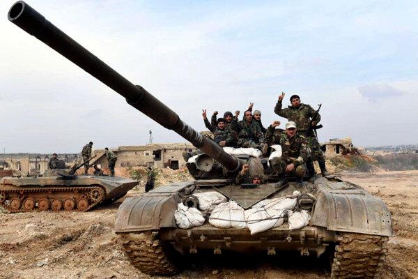 Sýrski vojaci na fotografii poskytnutej sýrskou oficiálnou tlačovou agentúrou SANA. Západ Aleppa, Sýria, 27. január 2020.