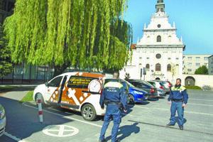 Hliadka Mestskej polície v Trnave.
