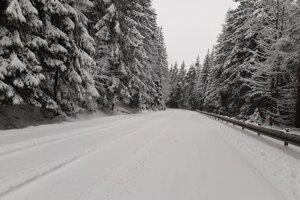 Pohľad na aktuálnu dopravnú situáciu na zasneženej ceste v Hnilci. Na ceste sa šmýka. Snehové zrážky komplikujú dopravu na viacerých miestach Slovenska.