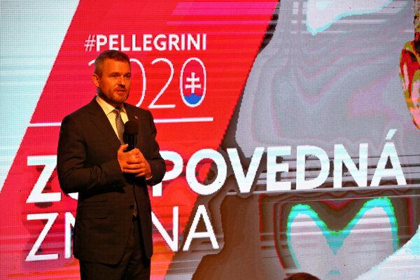 Premiér SR a podpredseda strany Peter Pellegrini počas prezentácie finálnej fázy predvolebnej kampane strany SMER – sociálna demokracia v priestroch Múzea SNP v Banskej Bystrici.