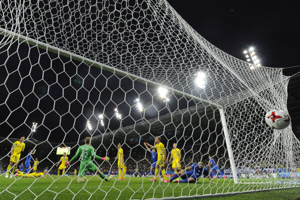 Jaroslav Mihálik strieľa gól v drese reprezentácie do 21 rokov - rok 2017.