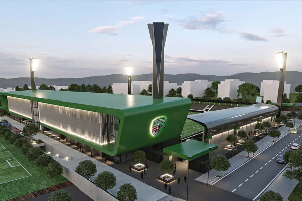 Vizualizácia nového futbalového štadióna v Prešove.