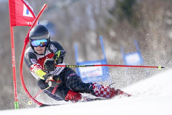 horvátsky lyžiar Filip Zubčič na trati v obrovskom slalome Svetového pohára 22. februára 2020 v japonskom stredisku Juzawa Naeba.