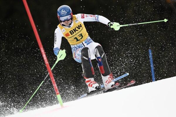 Petra Vlhová počas druhého kola alpskej kombinácie v Crans Montane.