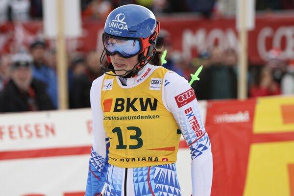 Petra Vlhová po druhom kole alpskej kombinácie v Crans Montane.