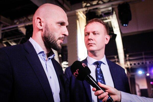 Voľby 2020: Predseda SPOLU Miroslav Beblavý a líder koalície strán Progresívne Slovensko - Spolu Michal Truban.