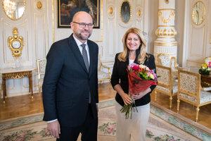 Voľby 2020: Richard Sulík a prezidentka Zuzana Čaputová počas prijatia predsedu strany SaS v Prezidentskom paláci.