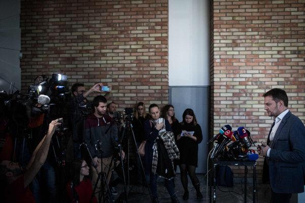 Igor Matovič pred médiami po stretnutí s Andrejom Kiskom.