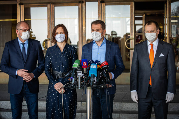 Richard Sulík, Veronika Remišová, Igor Matovič a Boris Kollár.