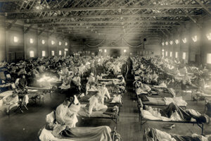 Vojaci nakazení španielskou chrípkou na základni Fort Riley v Kansase.