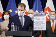 Premiér Igor Matovič predstavuje ekonomické opatrenia.