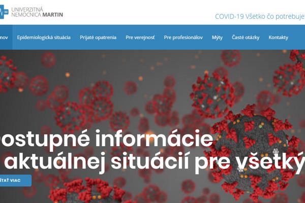 Nový web martinskej nemocnice týkajúci sa koronavírusu.
