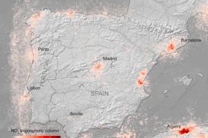Priemerné koncentrácie oxidu dusičitého nad Španielskom za desať dní v marci 2020. Španieli smú od 15. marca z domu vychádzať len vo výnimočných prípadoch. Zakázané sú prechádzky aj vonkajší šport.