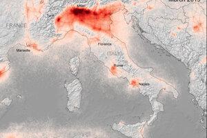 Koncentrácie oxidu dusičitého nad Talianskom v marci 2019.