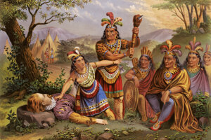 Lovestory bola spodobená v mnohých romantických podobách, tu Pocahontas zachraňuje Smithov život na chromolitografii z 19. storočia.