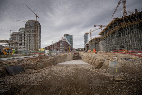 Výstavba nove autobusovej stanice na Mlynských nivách.