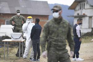 Testovanie Rómov na nový koronavírus v obci Bystrany na Spiši 13. apríla 2020.