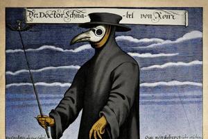 """Kolorovaná kresba Paula Fürsta zobrazuje lekára v obleku, ktorý ho mal chrániť pred nákazou. V """"zobáku"""" masky na tvár mal ukryté silno voňajúce látky. Verilo sa totiž, že nákaza sa šíri skazeným vzduchom."""