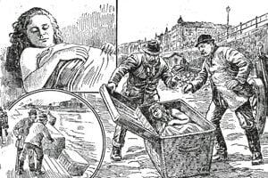 Obrázky, ako došlo k zavraždeniu Magnás Elzy v Budapešti.