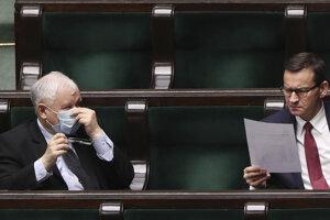 Predseda vládnej strany Právo a spravodlivosť (PiS) Jaroslaw Kaczynski (vľavo)