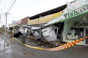 Poškodená budova v austrálskom Perthe.