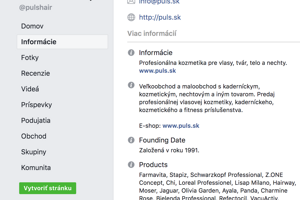 Facebooková fanpage dodávateľskej firmy