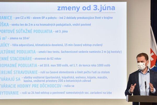 gor Matovič v pondelok predstavil ďalšie uvoľňovanie koronaopatrení.