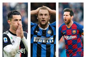 Zľava Cristiano Ronaldo (Juventus Turín), Milan Škriniar (Inter Miláno) a Lionel Messi (FC Barcelona).