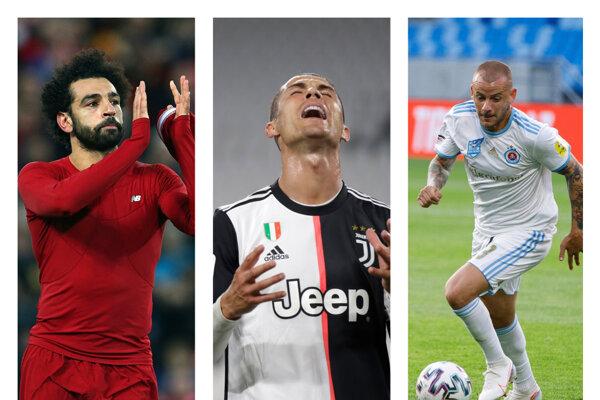 Zľava Mohamed Salah (Liverpool FC), Cristiano Ronaldo (Juventus Turín) a Vladimír Weiss ml. (Slovan Bratislava).