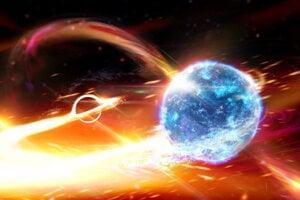 Umelecké zobrazenie zrážky čiernej diery (v pozadí) a neutrónovej hviezdy (v popredí). Je však možné, že na mieste hviezdy mohla byť aj veľmi malá čierna diera.