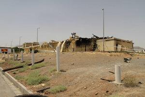 Na fotografii zverejnenej 2. júla 2020 Iránskou organizáciou pre atómovú energiu vidno budovu zničenú požiarom v iránskom jadrovom zariadení Natanz.