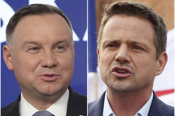 Súčasný poľský prezident Andrzej Duda a jeho protikandidát v druhom kole prezidentských volieb Rafal Trzaskowski.