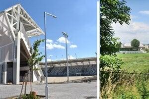 Súčasný stav. Rozostavaný košický futbalový štadión (vľavo) a miesto, kde má vyrásť prešovský.