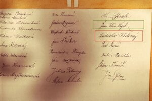 Podpis druháka Štefana Ladislava Kalického v albume.