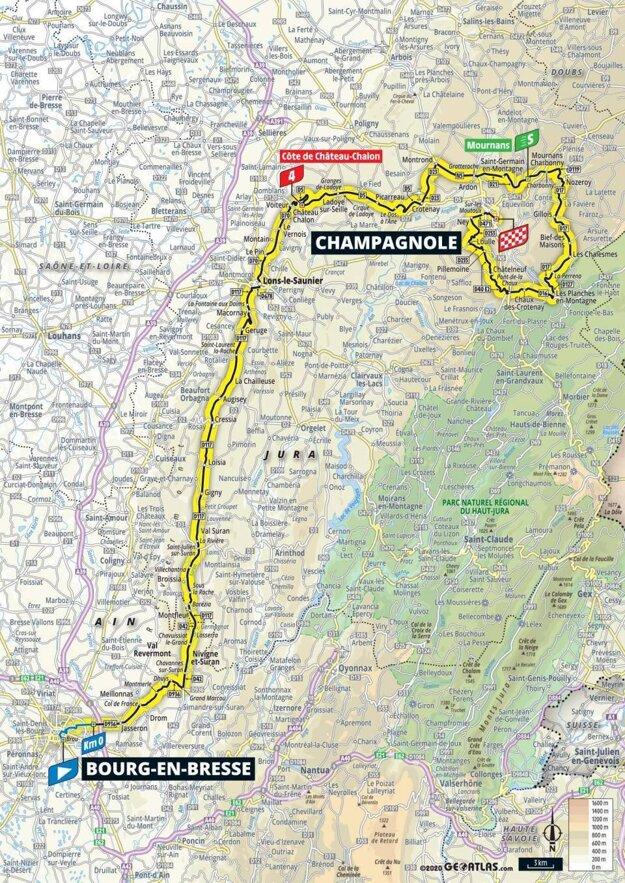 19. etapa na Tour de France 2020 - mapa.