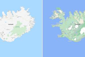 Mapa Islandu pred a po aktualizácii. Na nových mapách je ľahšie rozoznať hustotu zelene na rôznych miestach a tiež ľadovec Vatnajökull na východe.