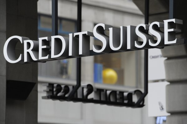 Logo švajčiarskej banky Credit Suisse v Zürichu.
