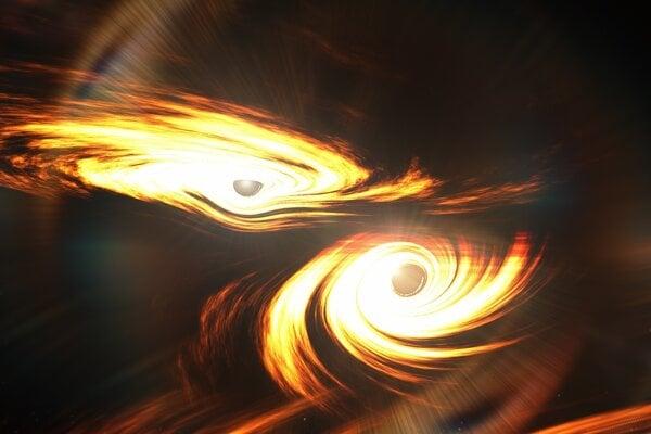 Umelecká predstava o zrážke dvoch čiernych dier, ktorých výsledkom boli gravitačné vlny GW190521.